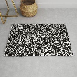Homage to Keith Haring Black Rug