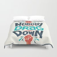 risa rodil Duvet Covers featuring Nobody can drag me down by Risa Rodil