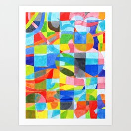 Grid with integrated Bizarre Shapes Art Print