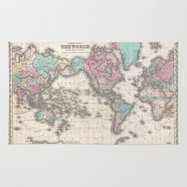 Vintage world map from 1855 geographic atlas of the world america vintage world map from 1855 geographic atlas of the world america europe rugs gumiabroncs Gallery