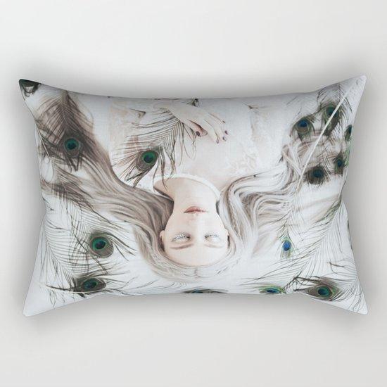 White peacock Rectangular Pillow