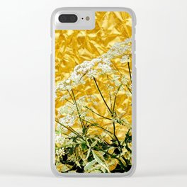 GOLDEN LACE FLOWERS FROM SOCIETY6 BY SHARLESART. Clear iPhone Case