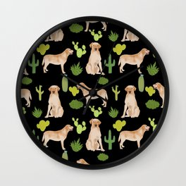 Labrador Retriever yellow lab cute cactus southwest pet portrait dog breed desert Wall Clock