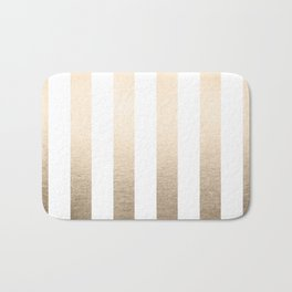Simply Vertical Stripes in White Gold Sands Bath Mat