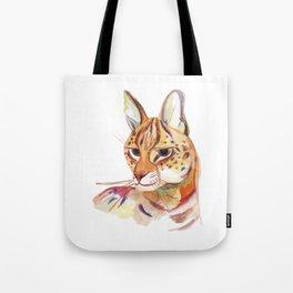 Serval wild cat watercolor Tote Bag