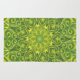 Green and Yellow center Swirl Pattern Rug