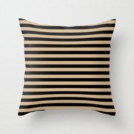 Tan Brown and Black Horizontal Stripes Throw Pillow