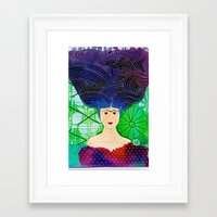frida khalo Framed Art Prints featuring Frida mar by Soraya Sus & Family Designs