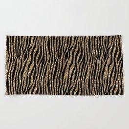 Black & Gold Glitter Animal Print Beach Towel