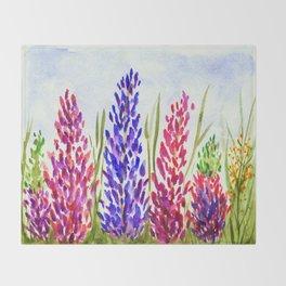 Watercolor Floral Art, Lupine Wildflowers Throw Blanket