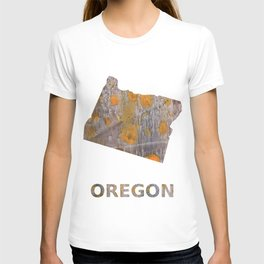 Oregon map outline Yellow brown spots watercolor T-shirt