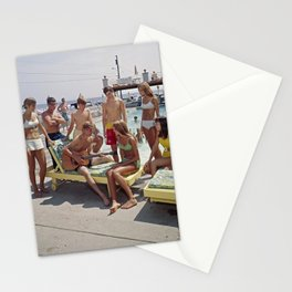 1960's Teenagers playing the guitar by the Gondolier Motel pool in Wildwood, NJ Stationery Cards