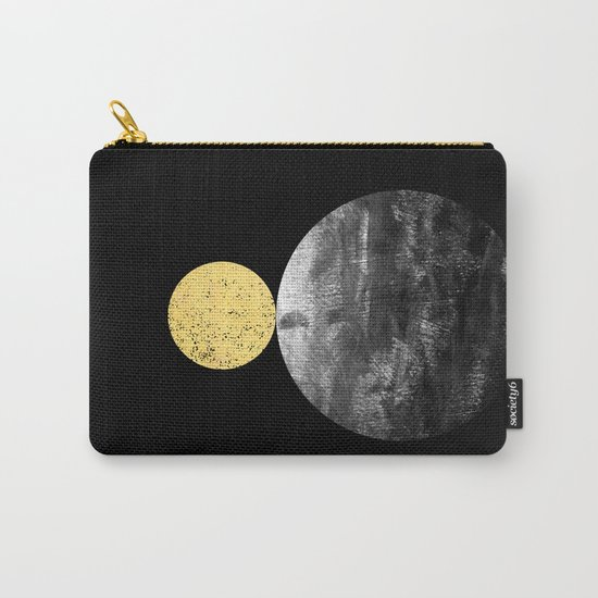Orson - minimal black and gold modern marble abstract painting dark skywatching galaxy planets space Carry-All Pouch