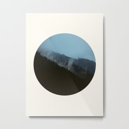 Mid Century Modern Round Circle Photo Graphic Design Slanted Pine Hill Silhouette Metal Print