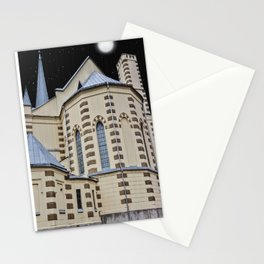 Lutheran Church at night Stationery Cards