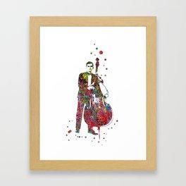 Jazz musician, watercolor jazz musician, double bass player Framed Art Print