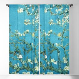 Vincent van Gogh Blossoming Almond Tree (Almond Blossoms) Light Blue Blackout Curtain