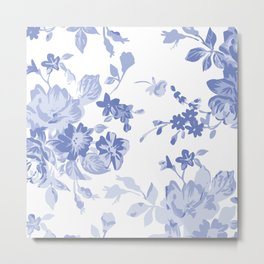 Blue Flower Pattern Throw Pillow Cover Metal Print