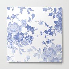 Blue Flower Pattern Throw Pillow Cover Metal Print