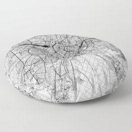 Munich White Map Floor Pillow