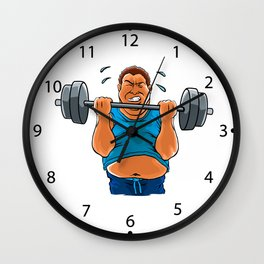 fat overweight man with dumbbell Wall Clock