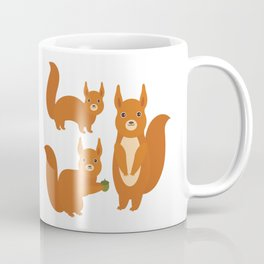 Set of funny red squirrels with fluffy tail with acorn  on white background Coffee Mug