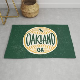 Hand Drawn Baseball for Oakland California with custom Lettering Rug