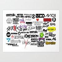 edm Art Prints featuring Edm favourites by Antekswerve