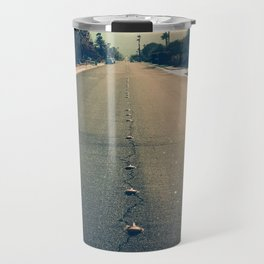 street leading to horizon at sunset Travel Mug