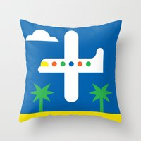 airplane Throw Pillows featuring Airplane by Alberto Antoniazzi