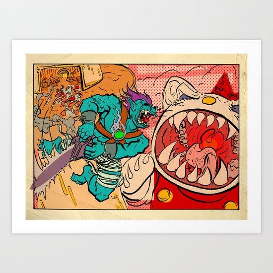 Monster Plus vs Kaiju Kitty Art Print