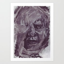 Baby face in charcoal. Art Print
