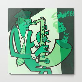 Jazz Men - Sax Metal Print