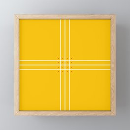 Fine Lined Cross on Yellow Framed Mini Art Print