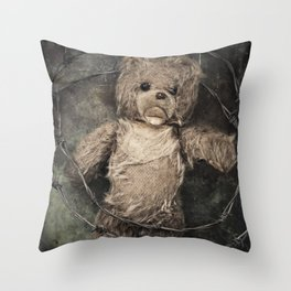 trapped teddy bear Throw Pillow