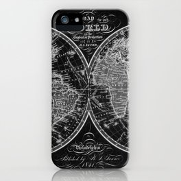 Black and White World Map (1842) Inverse iPhone Case
