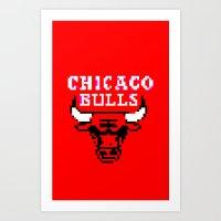 chicago bulls Art Prints featuring Bulls Bulls Bulls by Art by Ken