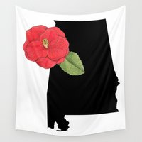 alabama Wall Tapestries featuring Alabama Silhouette by Ursula Rodgers