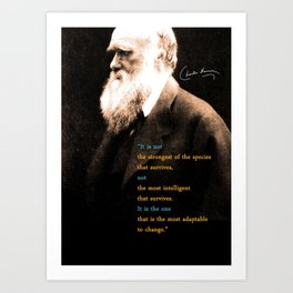 Charles Darwin Inspirational Quote Art Print