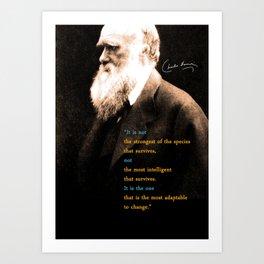 Charles Darwin Inspirational Quote Art Print