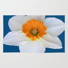 DECORATIVE ORANGE CENTERED WHITE DAFFODIL TEAL ART Rug