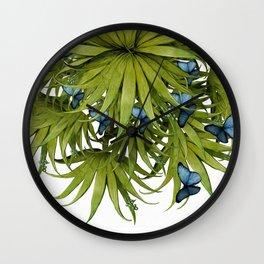 """El Bosco fantasy, tropical island blue butterflies 02"" Wall Clock"