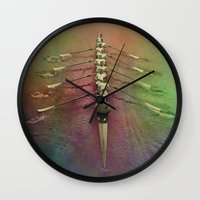 rowing Wall Clocks featuring Rowing the Rainbow River by benzos