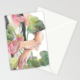 Woman Hugging Watercolor Anthurium, Laceleaf Stationery Cards