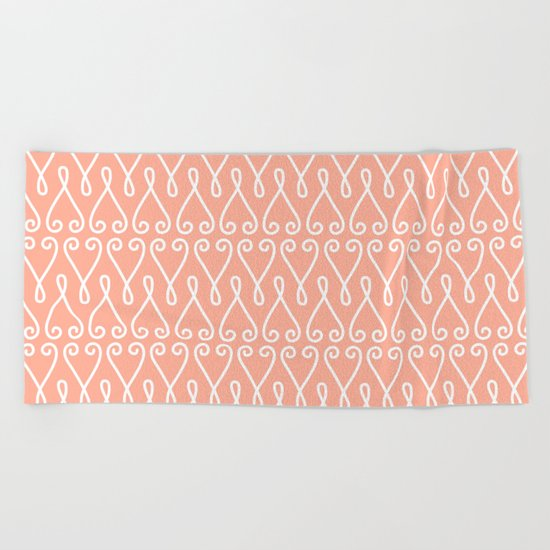 White Ornamental Designs on Pink Background Beach Towel