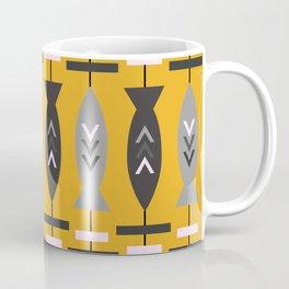 Aztec pattern with fish- ochre Coffee Mug