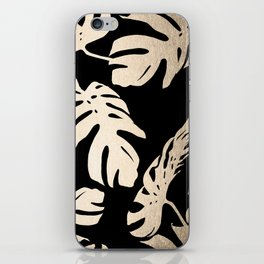 Simply Palm Leaves in White Gold Sands on Midnight Black iPhone Skin