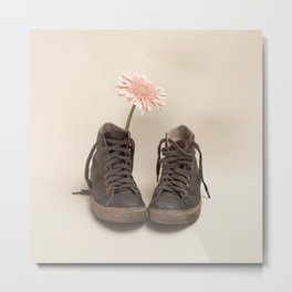 Brown Converse Boots and Pink Flower (Retro Still Life Photography)  Metal Print