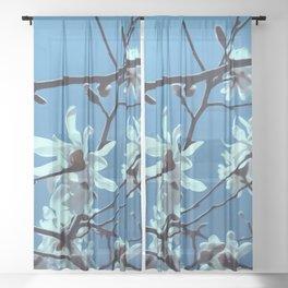 White Magnolia Bloom Blue Sky Sheer Curtain