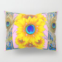 PINK-BLUE PEACOCK SUNFLOWERS DECO JEWELED Pillow Sham